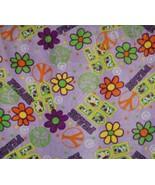 Purple Groovy Peace Fleece Fabric Anti Pill Print One Half Yard Full Pol... - $13.98