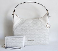 NWT MICHAEL KORS ARIA SIGNATURE SHOULDER BAG AND MATCHING WALLET WRISTLE... - £184.12 GBP