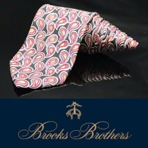 Brooks Brothers BFS Paisley Neck Tie Red Black Unique 100% Silk Tie - $31.28
