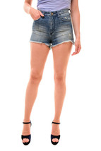 One Teaspoon Womens High Waisted Bonitas Shorts Blue Cult Size W28 RRP $100 - $35.00
