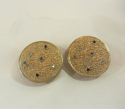 JUDY LEE Nubby Gold Plate Rhinestone Clip Earrings DISC Textured Vintage... - $16.82