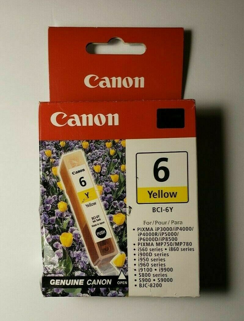 Primary image for Canon BCi-6Y yellow ink tank PIXMA ip4000 R ip5000 ip6000D ip8500 printer copier