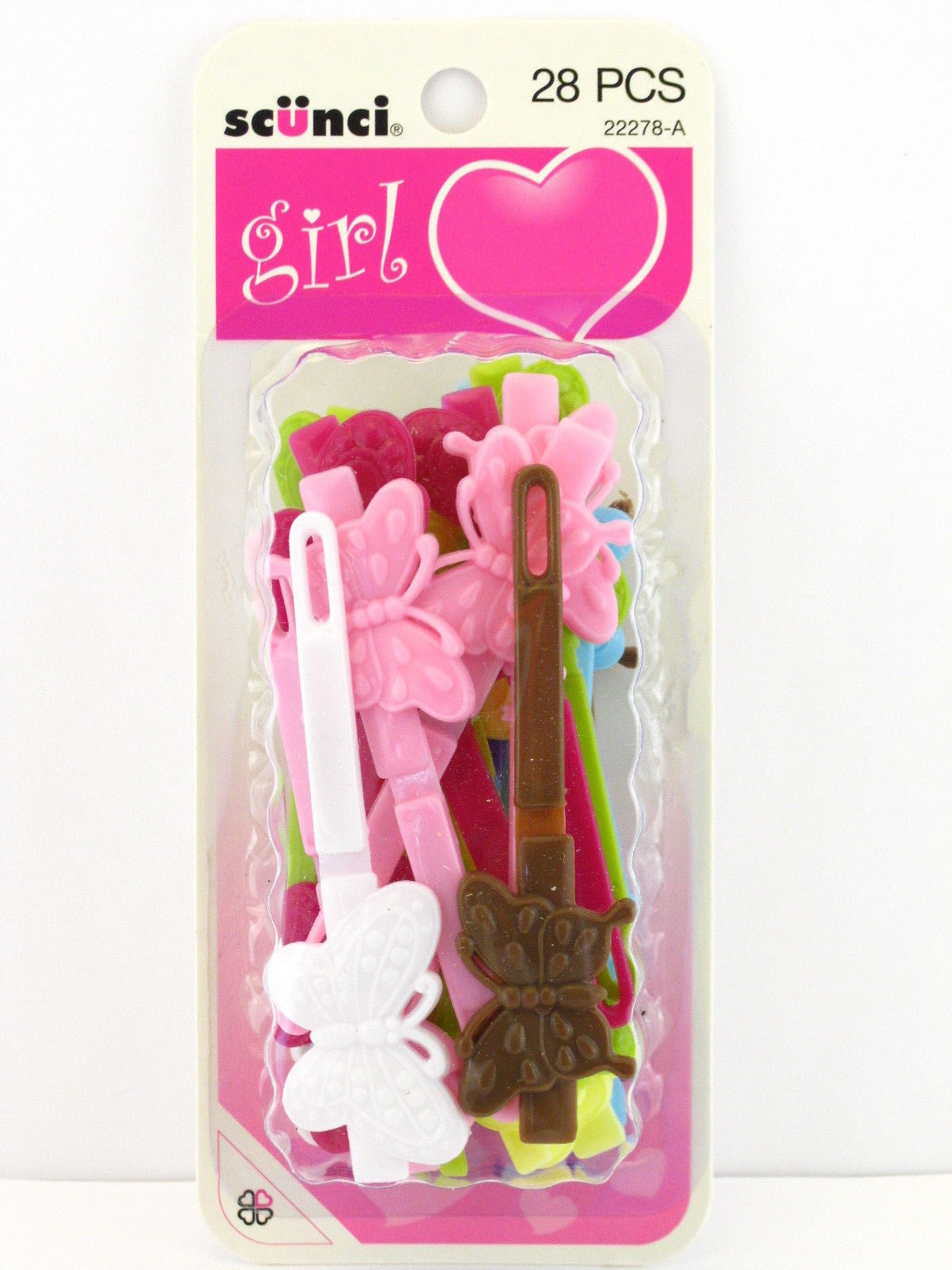20 PCS. 08973 TARA GIRLS SELF HINGE PLASTIC BOW HAIR BARRETTES