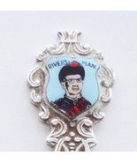 Collector Souvenir Spoon Canada Manitoba Rivers Serviceman Porcelain Emblem - $9.99