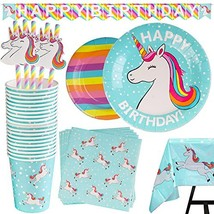 102 Piece Rainbow Unicorn Party Supplies Set Including Banner, Plates, C... - $28.14