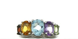Ladies Size 8 Sterling Silver Multi Color Gemstone Fashion Ring No. 2110