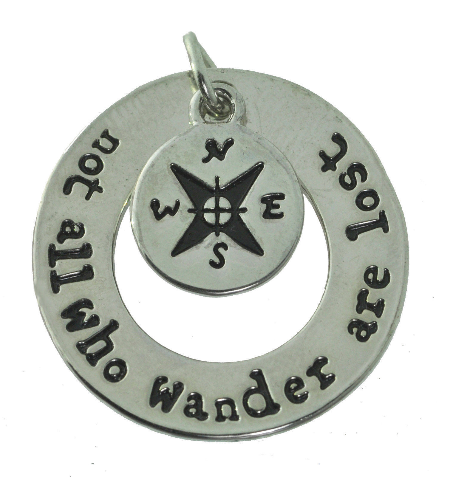 NICE Not all those who wander are lost Sterling Silver Compass 2 pc charm Jewelr
