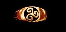 NICE Gold Plated Celtic triskele Fylfot Wicca Ring Jewelry - $17.22