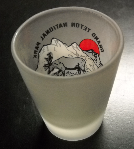 Grand Teton National Park Shot Glass Frosted Glass Red Sun Mountains Moose