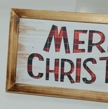 Ganz EX25448 Rustic Buffalo plaid Merry Christmas Wooded Sign image 2