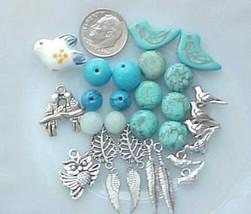 Designer Lot Blue Bird Beads Silver Charms Beading Jewelry Making DIY Ki... - $7.12