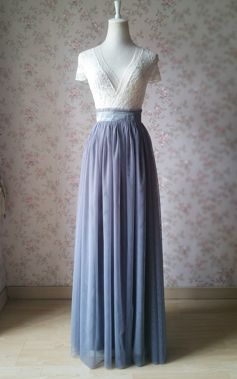 Gray Tulle Skirt Outfit High Waisted Long Gray Tulle Skirt Bridesmaid Skirt