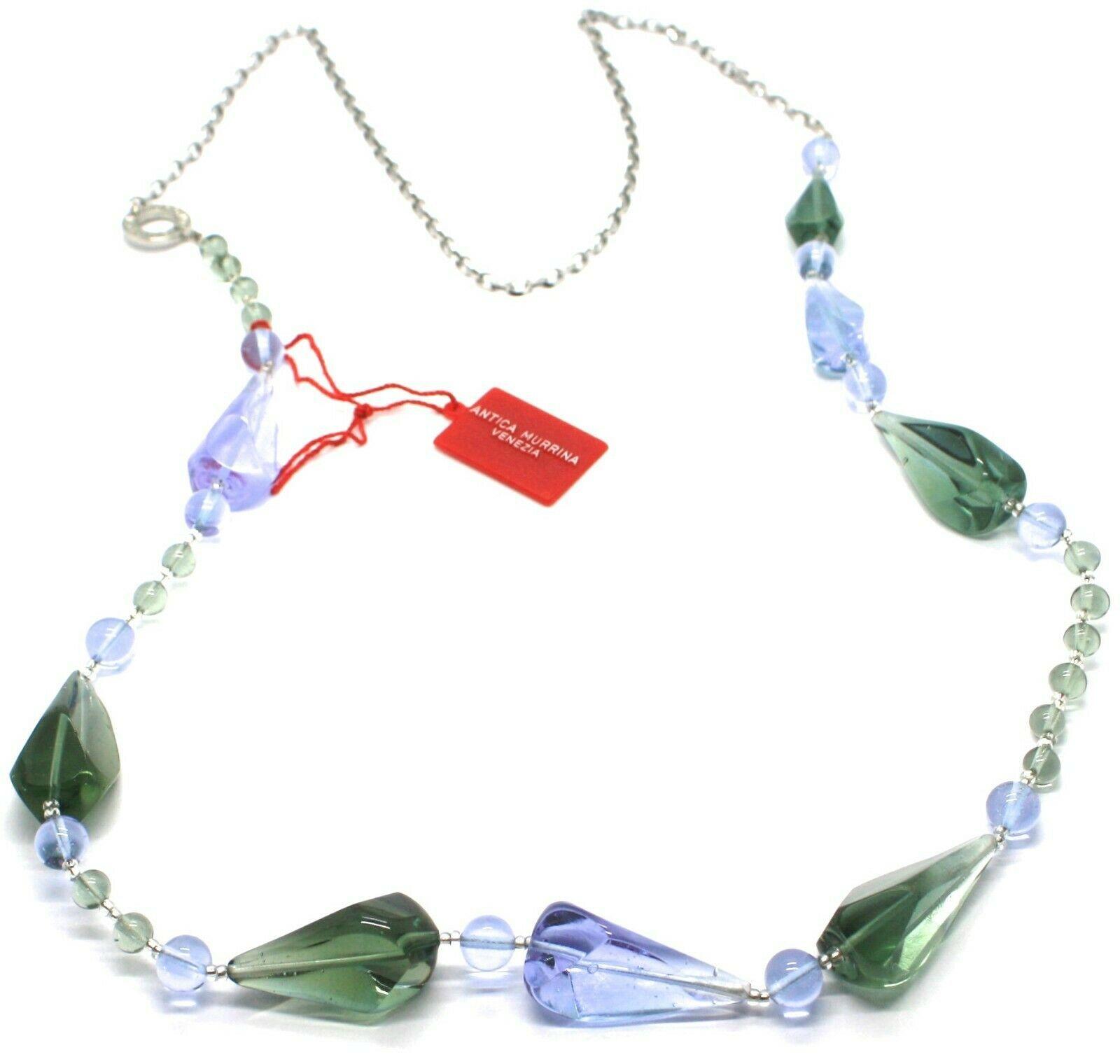 Necklace Antica Murrina Venezia, Glass Murano, 90 cm, CO561A12, Drops Blue Green