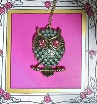 Betsey Johnson Gold-tone Embellished Owl Pendant Necklace NEW - $34.65
