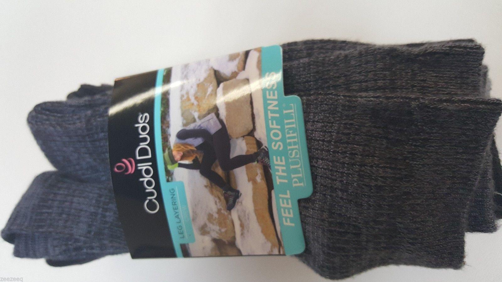 CUDDL DUDS Women/'s Leg Layering 6 Pair Crew Socks Size 4-10 BLACKS /& GRAYS