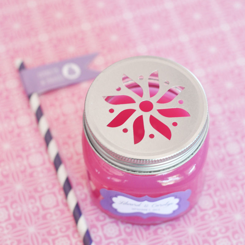 50 Personalized Mason Drinking Jar & Striped Straw Wedding Favor Container