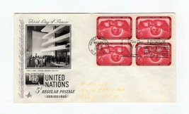 FDC ENVELOPE-UNITED NATIONS 5c REGULAR POSTAGE -4BL 1962 ARTCRAFT CACHET... - $1.47
