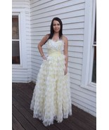 50s Yellow Prom Dress Formal Strapless 1950s Party Cupcake Vintage 1950s XS - $176.00
