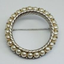 Vintage Trifari Faux Pearl Circle Brooch - $10.00