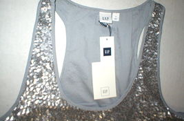 Womens Gap Top S New NWT Silver Sequin Tank Blouse Lined Hi Low Small Pretty image 3