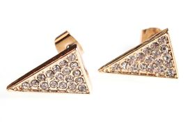 Jules Smith Gold Cubic Zirconia Crystal Pave Elongated Triangle Stud Earrings image 3