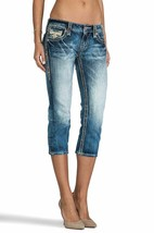 Rock Revival Womens Premium Capri Jeans Skinny Acid Denim Wash Angie P17