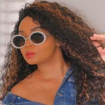 Diamond Round Sunglasses Women Sexy Shades Oval Rhinestone Eyeglasses Luxury Bra image 2