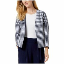 Anne Klein Blazer Gingham Dolman Sleeves Navy Blue White Check Women 14 ... - $34.99