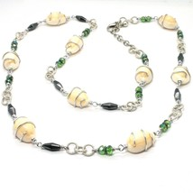 Necklace the Aluminium Long 90 Inch with Seashells Hematite Crystals Green image 1