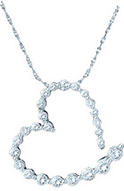 14k White Gold Womens Round Diamond Graduated Heart Outline Journey Pendant - $233.00