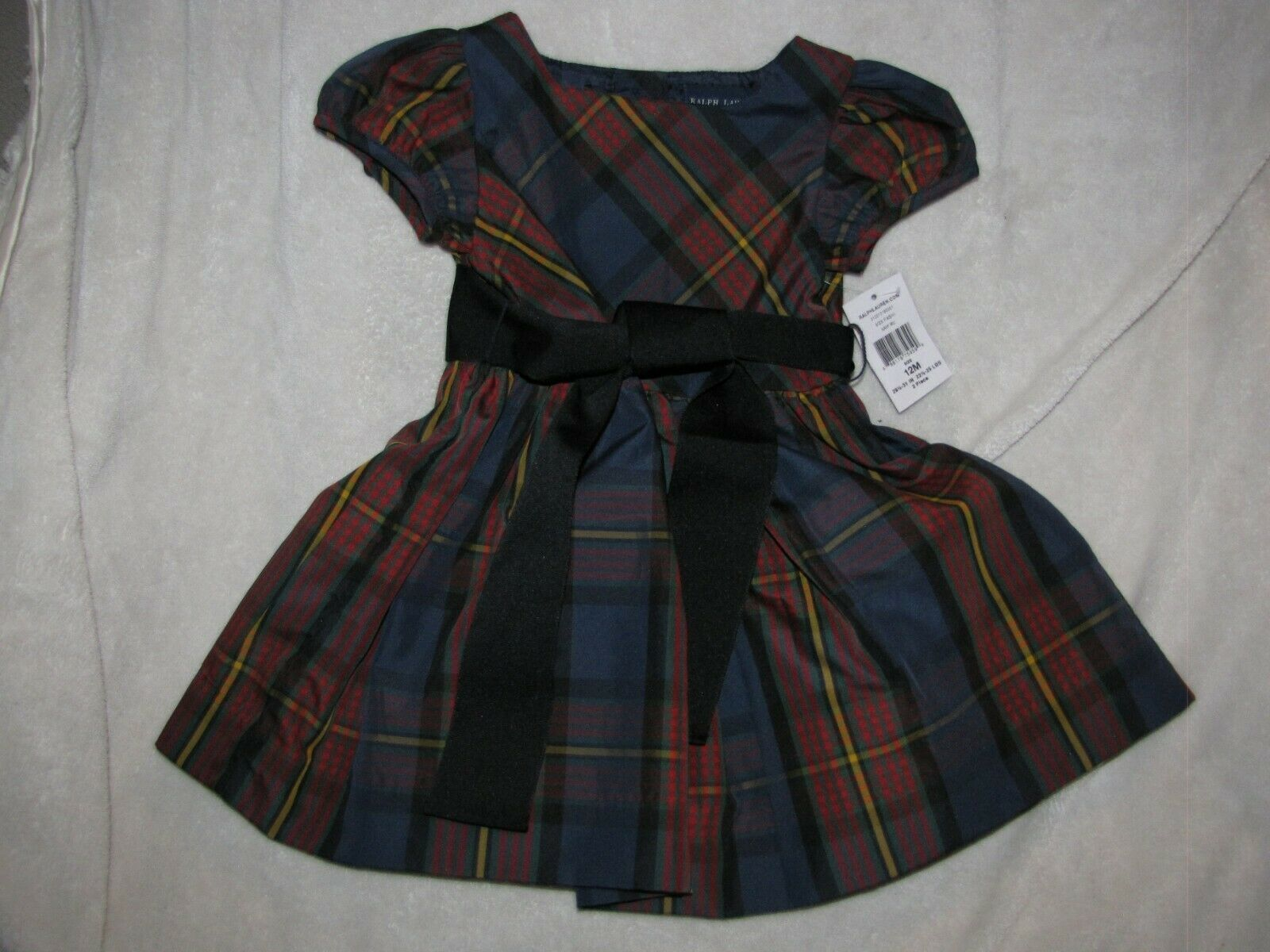 Primary image for Ralph Lauren dress size 12 months Red Tartan Plaid baby girl Xmas Holidays Lined