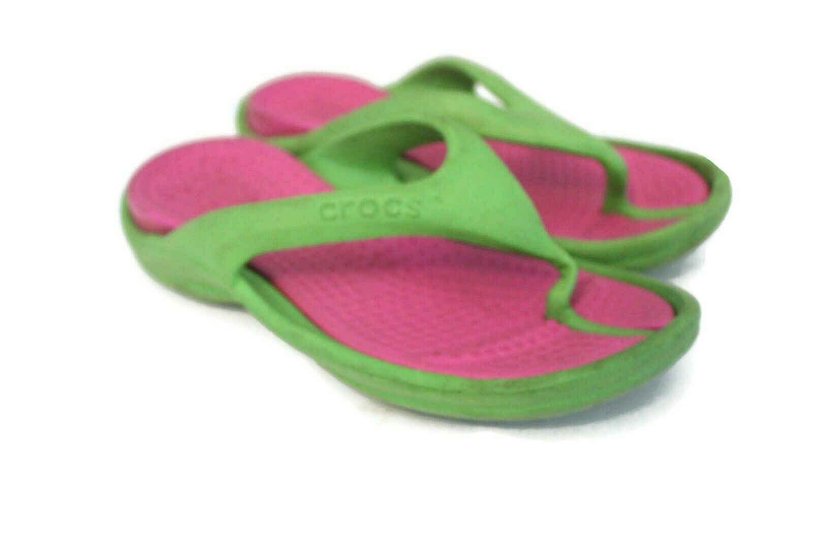 Primary image for Crocs Slip On Flip Flops Rubber Sandals Sz w4 m2 Neon Green Hot Pink Unisex