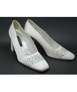 Stuart Weitzman Ivory Embellished Satin Covered Shoes Size 9.5 - $38.22