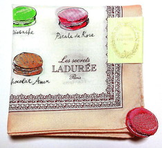 Laduree Handkerchief hanky scarf bandana Macaron Pink Cotton Auth New Licensed - $29.69