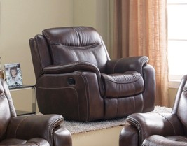McFerran SF3739-C Brown Premium Leather Air Fabric Reclining Chair - $750.50