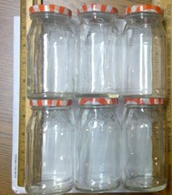 Lot 6 Empty Small Smuckers Jelly Marmalade Glass Jars 5x2.5in w Lid 2 3/... - $3.79