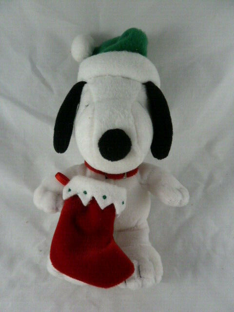 "Hallmark Christmas Snoopy Lovey 9"" Soft Plush Doll with hat and stocking  image 2"