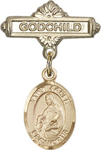 14K Gold Baby Badge with St. Agnes of Rome Charm Pin 1 X 5/8 inch - $468.56