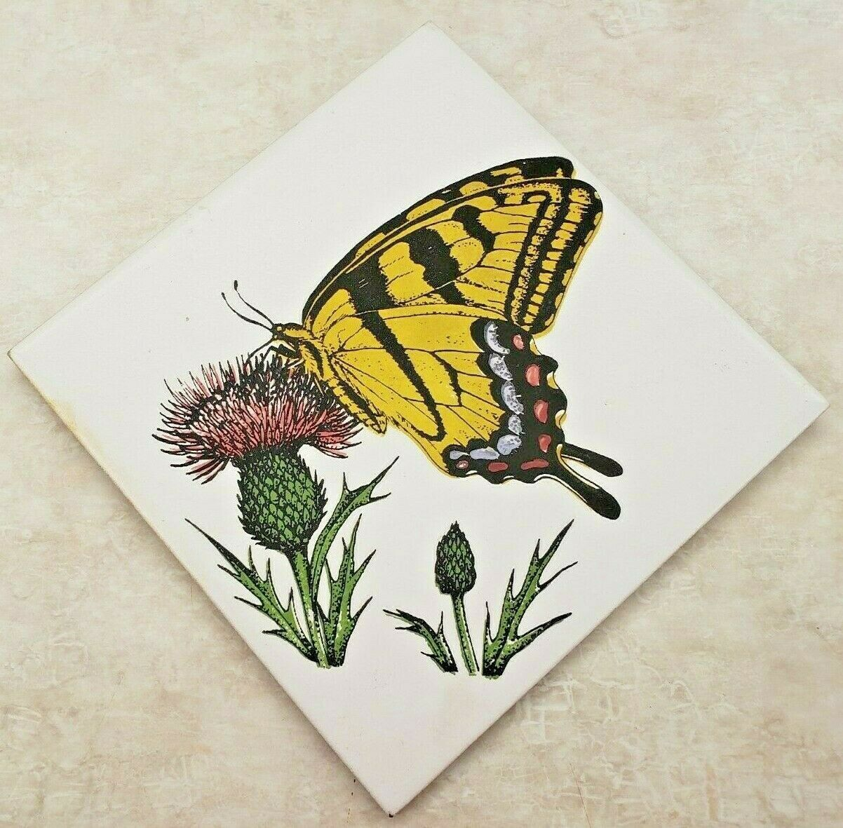 "Primary image for Art Tile ""Custom Style Designs"" Yellow Monarch Butterfly On Thistle Made USA"