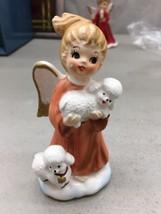 Vintage Lefton Red Christmas Angel with Lambs figurine #723 - $29.99