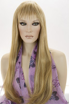 Piano Stripe Straw. + Light Pale Blonde Long Premium Remy Human Hair Wigs - $749.42