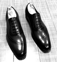 Handmade Men's Black Leather Dress/Formal Oxford Leather Shoes image 1