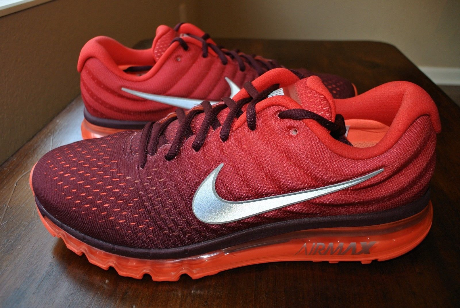 separation shoes 6aba6 3229d 57. 57. Previous. NIKE AIR MAX 2017 NIGHT MAROON WHITE GYM RED 849559 601  US MENS SHOE SIZE 13