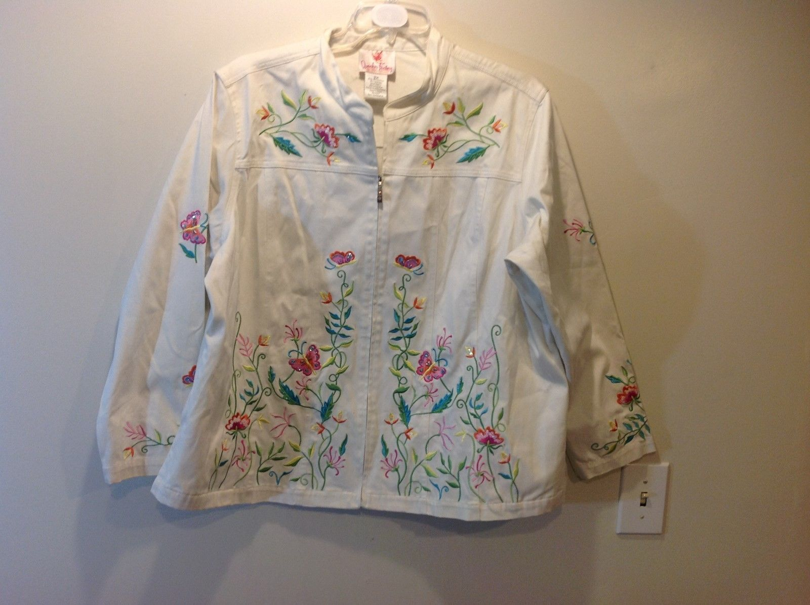 Quacker Factory White Jacket w Colorful Floral Butterfly Embroidery Sz 2X