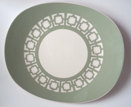 "Harker Persian Key 11.5"" Oval Serving Platter Plate Green Border Linked Squares - $29.69"