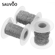 SAUVOO 10 Yards/Roll 2/2.5/3mm Width Silver Color Stainless Steel Link Chain Bul - $13.71