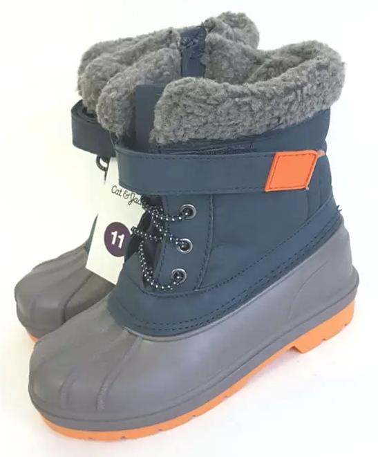 Toddler Boys Cat & Jack Valmai Blue Navy Orange Insulated Winter Boots NEW