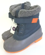 Toddler Boys Cat & Jack Valmai Blue Navy Orange Insulated Winter Boots NEW