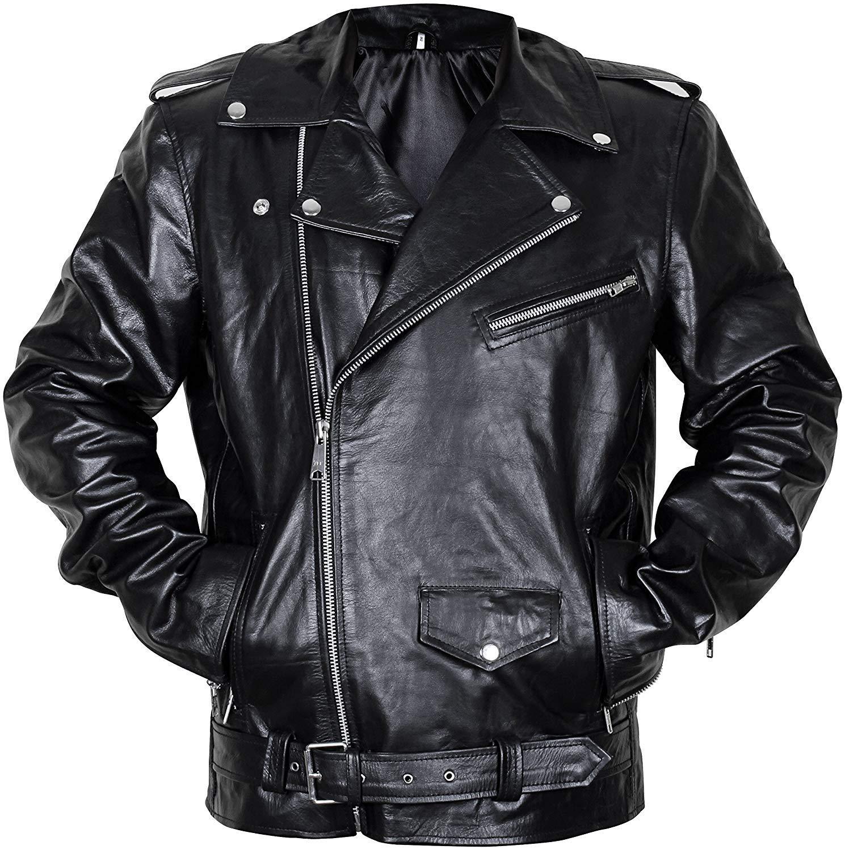 Mens brando biker classic vintage motorcycle black leather jacket