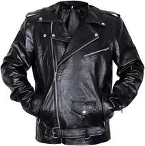 Mens Brando Biker Classic Vintage Motorcycle Black Leather Jacket image 1